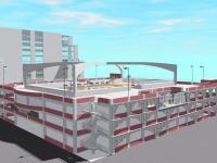 Многоярусная парковка с баскетбольной площадкой на крыше